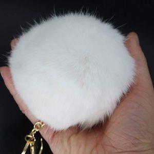 White plush Pom Pom keychain